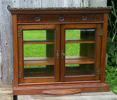 Awesome Antique Carved Walnut Display Curio Cabinet W Locking Doors Key Beveled Glass Download Free Architecture Designs Embacsunscenecom