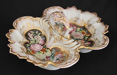 LG Antq Old Paris Porcelain Divided Lobster Handled Serving Dish Floral Gold Trm
