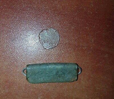 Ancient Roman glass pendant and fragment cut for jewelry