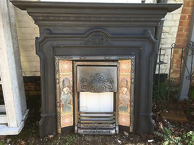 A Beautiful Solid Tiled Cast Iron Victorian/Edwardian Fireplace