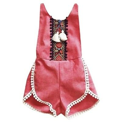 Baby girls washed red/pink tassle playsuit, trible pattern. low backless, summer