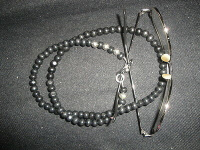 """26"""" black and silver wood lanyard for sunglasses or spectacles beach garden"""