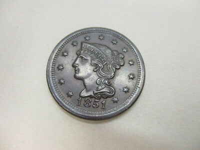 1851 U.S. Large Cent About Uncirculated Coin