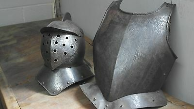 A 16th Century Antique Spanish Vintage Headpiece and  Breastplate Armour