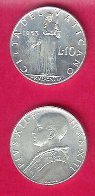 Vatican  City 10 Lire 1953 Unc Prudence Standing Bust Left,date Divides Denomina