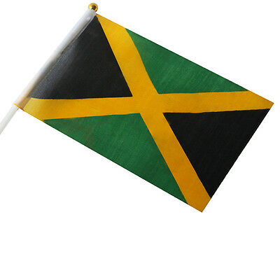 Thin Small National Jamaican Hand Flag w/ defects - Caribbean Car Travel Banner