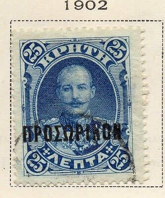 Crete 1902 Early Issue Fine Used 25L. Optd 168166