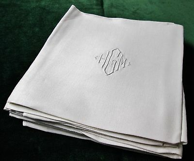 Antique Linen Damask 9 Lapkins H G M Monograms Art Deco Style Satin Bands