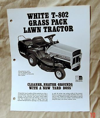 Vintage White Outdoor Products Lawn Tractor T-802 Advertising Brochure -Ca 1976!