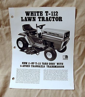 Vintage White Outdoor Products T-112 Lawn Tractor Advertising Brochure -Ca 1977!