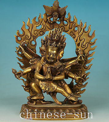Tibet Brass Handmade Casting Buddha Devil Love Kwan-yin Statue Figure Decoration