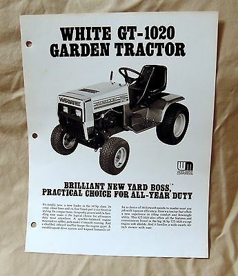 Vintage White Outdoor Products GT1020 Lawn Tractor Advertising Brochure-Ca 1977!
