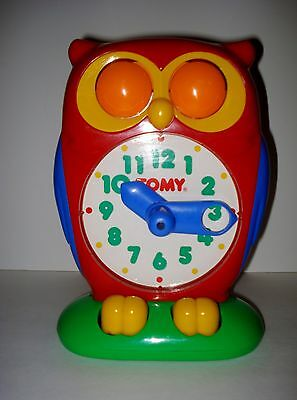 Vintage 1990 Tomy Owl Toy Clock Educational Teach Learning Learn To Tell Time