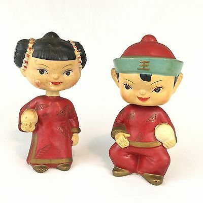 Vintage Bobbleheads Dolls Nodders Chinese Girl and Boy Set of 2 Made in Japan