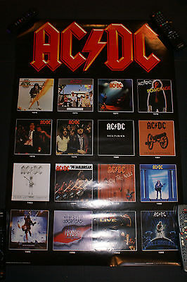 "AC/DC 2003 Poster (1975-1995 album covers) 24"" x 36"" New Never Used OUT OF PRINT"
