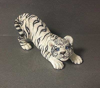 Living Stone WHITE TIGER Wild Cat Playful Cub Figure Figurine Statute