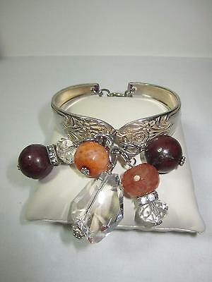 Fancy Antique Silver Spoon Bracelet Carnelian Agate Faceted Crystals Adjustable