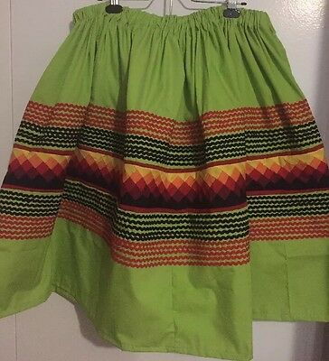 "Seminole Patchwork  Skirt Fire 🔥 Colours ~ 60 Yards Rick Rack! 29"" Inches Long!"