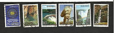 1991 Zimbabwe SC #648-53 WATERFALLS  CAVES  used stamps