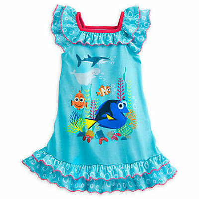 DISNEY STORE FINDING DORY~Nemo Girls NightGown Pajamas size 5/6 Authentic  NWT