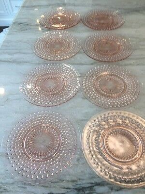 "Pink HOBNAIL Depression Glass:  Set of 8 Luncheon / Dinner Plates 8 1/2"" Nice Co"