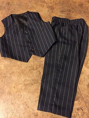 Boys Navy Blue With White Pinstripe 2 Pc Dressy Vest & Pants Set Size 18 Months