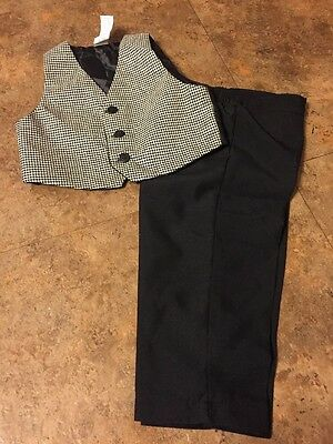 Boys Black & White Houndstooth 2 Pc Dressy Vest & Pants Set Size 24 Months