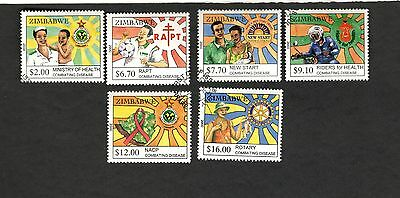 2000 Zimbabwe SC#864-69 COMBATING DISEASE Rotary Nacp Rapt New Start used stamps