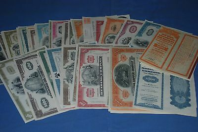 77 dif RAILROAD AIR MATERIALS AUTO stock bond certificates colorful vintage lot