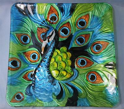 Peacock Plate Wall Hanging Serving Plate New Painted Glass Blue & Green