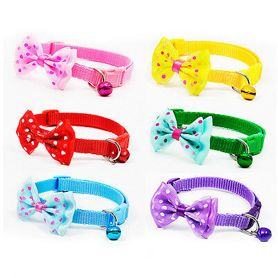 New Adjustable Puppy Kitten Dog Cat Pet Bow Tie With Bell Necktie Collar Cute