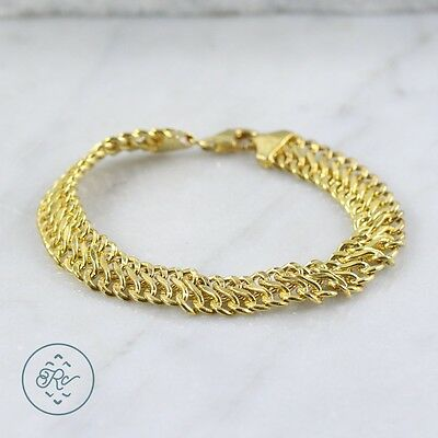"Sterling Silver | 10mm Gold Plate Unique Curb Chain 6g | Bracelet (6.75"") NC6613"