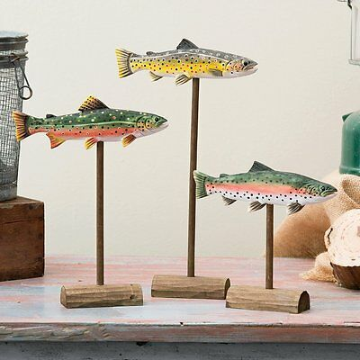 Hand Carved Wood Rainbow Trout Set of 3