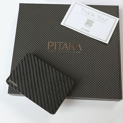 PITAKA Carbon Fiber Magnetic Wallet & Credit Card Holder - Sleek, Slim, TWILL