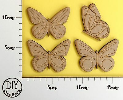 MDF Butterflies - Set of 4 - Wooden Craft Shapes - DIY Decor for Adults and Kids