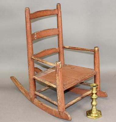 Great 19Th C Ct Child's 3 Slat Armchair In Fantastic Old Original Salmon Paint