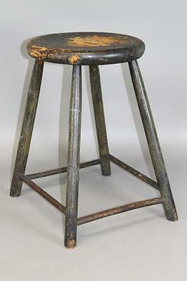 Rare Late 18Th - Early 19Th C Ct Windsor Stool In Original Green Painted Surface