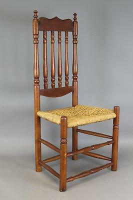 One Of A Pair A Great 18Th C Deerfield Ma Bannister Back Chair Best Crest  1/2
