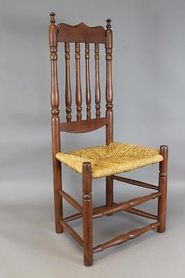 One Of A Pair A Great 18Th C Deerfield Ma Bannister Back Chair Best Crest  2/2