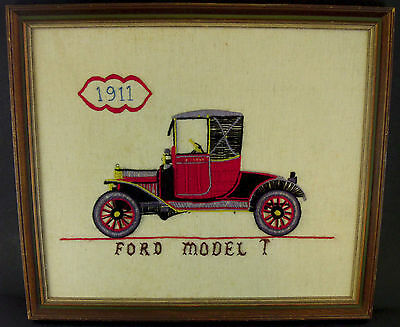 """Ford Model T Finished Embroidery Crewel Piece w/ Wooden Frame Art 14"""" x 16"""""""