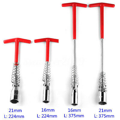 Car 21mm/16mm Spark Plug Wrench Removal Spanner Socket Tool T-Handle 224mm/375mm