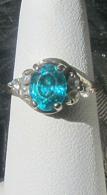 3ct. Cambodian neon blue AUTHENTIC sapphire 14k with 6 white sapphire accents