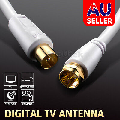 TV Antenna Cable PAL Male to F-Type Flylead Aerial Cord Coax Lead