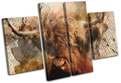 Highland Cow Old Vintage Animals MULTI CANVAS WALL ART Picture Print