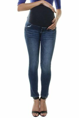 Maternity Faded Denim Slim Straight High Waist Jeans Pregnancy Over Bump Pants