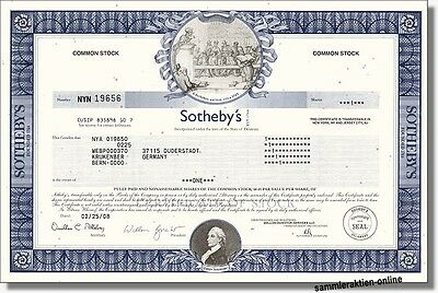 Sotheby's, London, New York - hochdekorative Aktie, Wallstreet-Version - selten