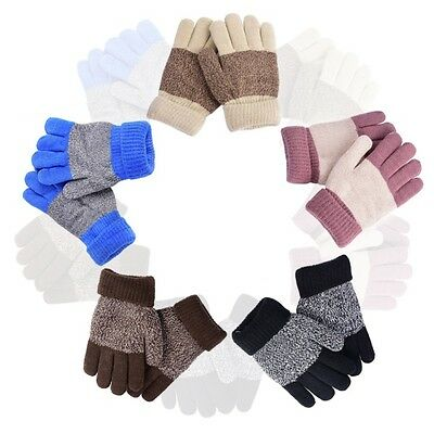 AU Toddler Soft Gloves Kid Baby Winter Warm Stretchy Knitted Full Finger Mittens
