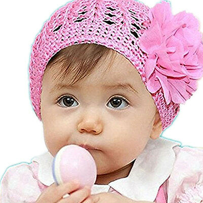 Sweet Crocheted Knitting Beanie Hat with Flower Design for Baby Girls Infants