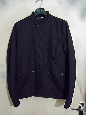 Barbour International Euston Waxed Cotton Motorcycle Jacket Size M