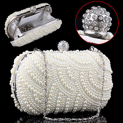 Pearl Bead Beaded Diamante Bridal Wedding Prom Purse Clutch Handbag Bag UK SELL